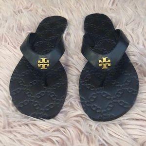 NWT Tory Burch Monroe Leather Thong black 9 1/2